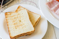 Breakfast with toasts and pork sliced ham - PhotoDune Item for Sale