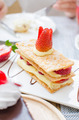 Mille feuille, puff pastry layered with strawberries and whipped - PhotoDune Item for Sale