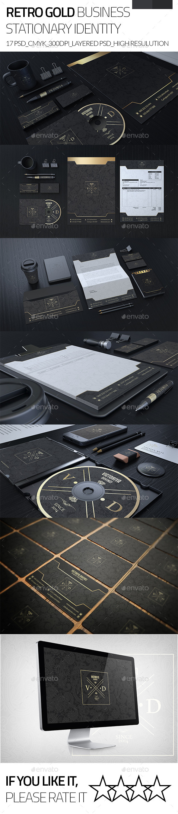 GraphicRiver Retro Gold Corporate Business Stationary Identity 9375923