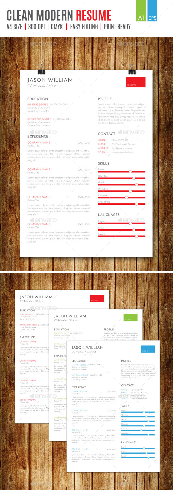 GraphicRiver Clean Modern Resume 9376249