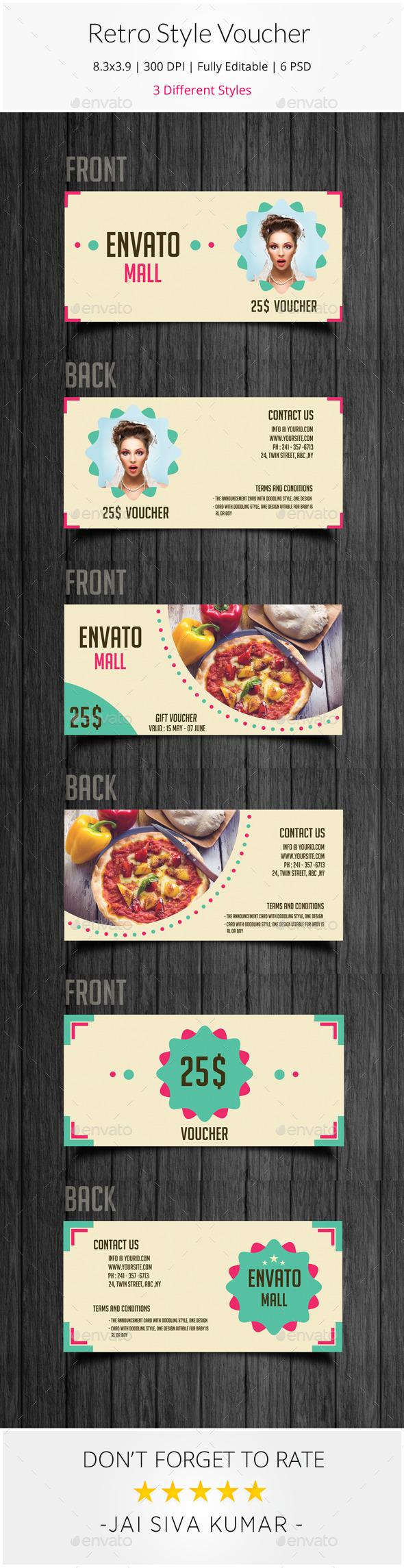GraphicRiver Retro Style Gift Voucher 9376487