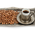 Turkish cup and coffee grain isolated on white background - PhotoDune Item for Sale