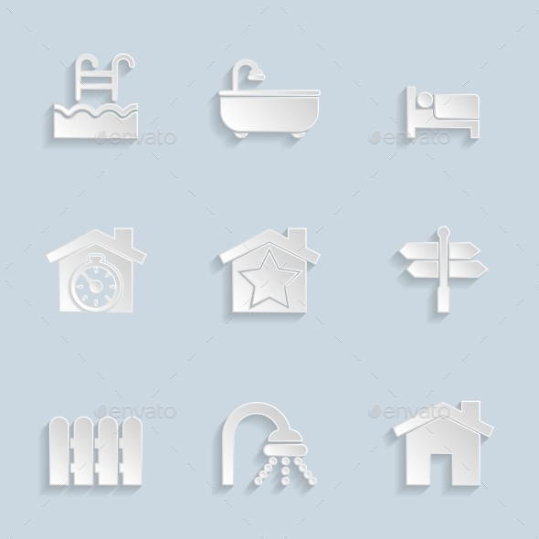 GraphicRiver Paper Real Estate Icons 9376680