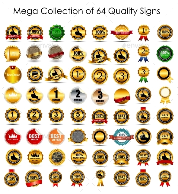 GraphicRiver Collection of 64 Quality Label Signs 9376794