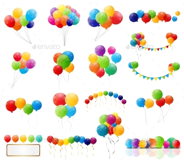 GraphicRiver Color Glossy Balloons Set 9376849