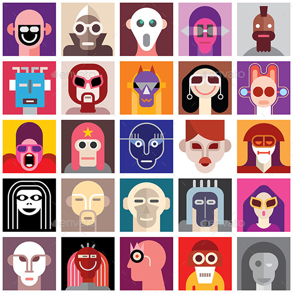 GraphicRiver People Wearing Masks 9376884