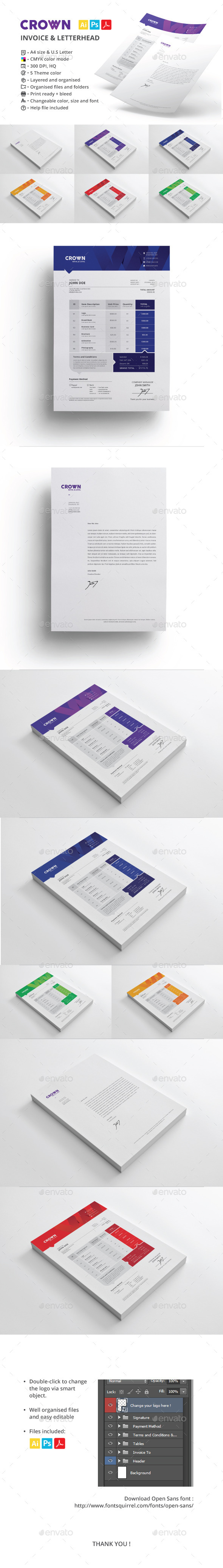 GraphicRiver Crown Invoice & Letterhead 9376993