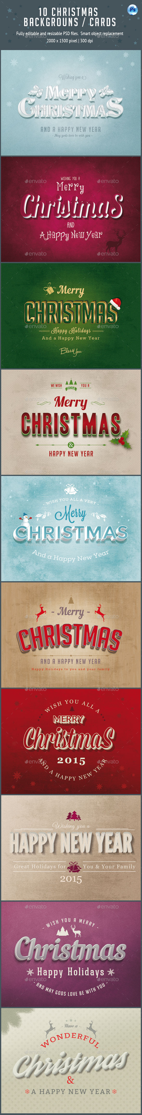 GraphicRiver 10 Christmas Cards Backgrounds 9377129