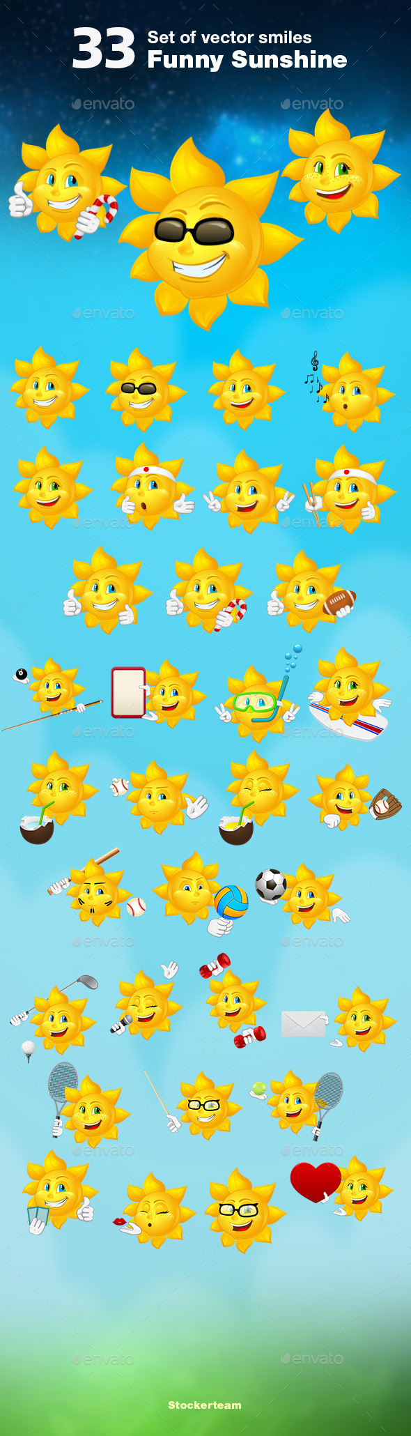 GraphicRiver Set of 33 Sunshines 9377572