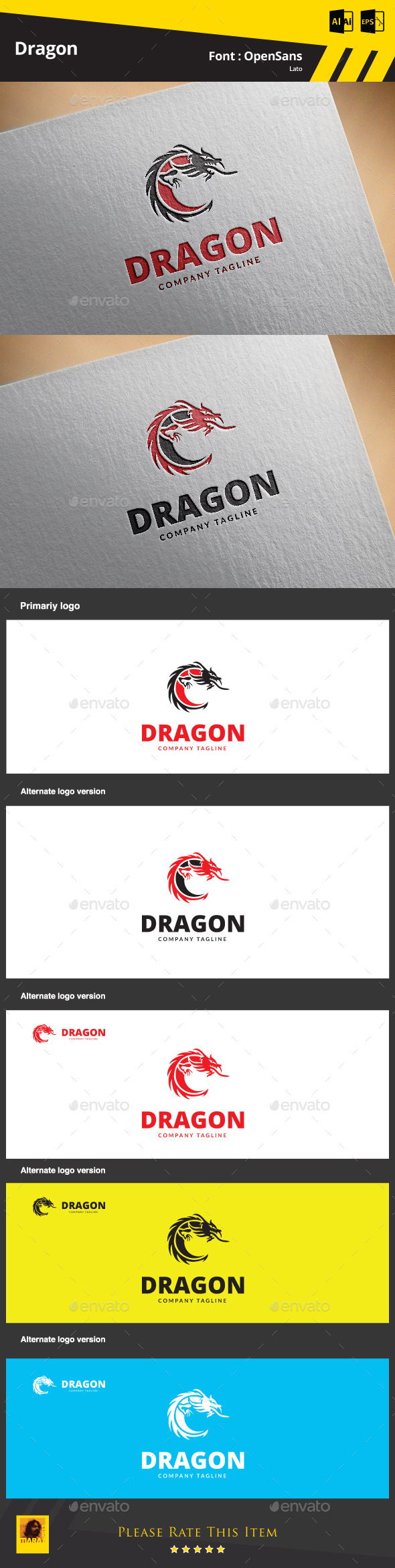 GraphicRiver Dragon Logo Template 9377722