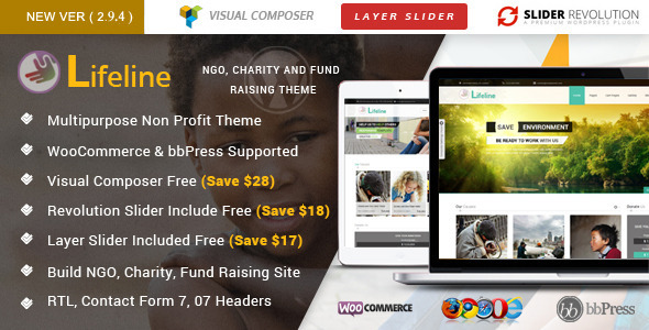 Lifeline - NGO Charity Fund Raising WordPress Theme - Charity Nonprofit