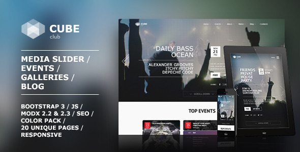 ThemeForest Club Cube responsive MODX theme for night club 9378054