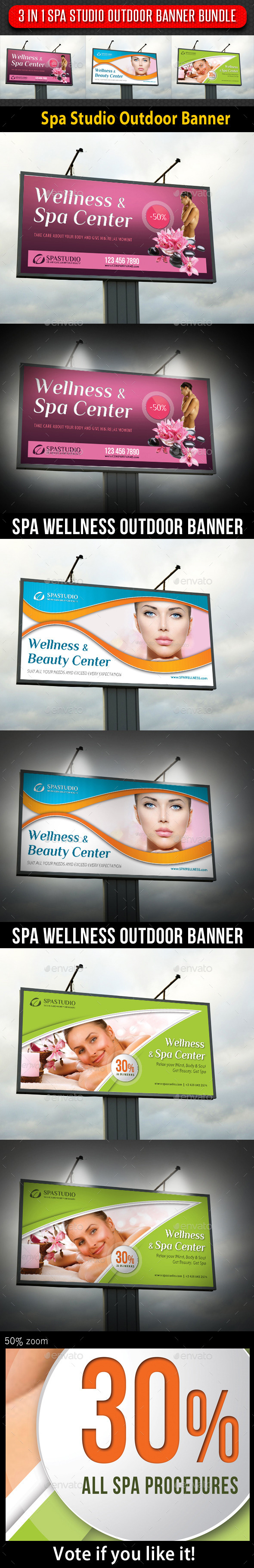 GraphicRiver 3 in 1 Spa Studio Outdoor Banner Bundle 9378345