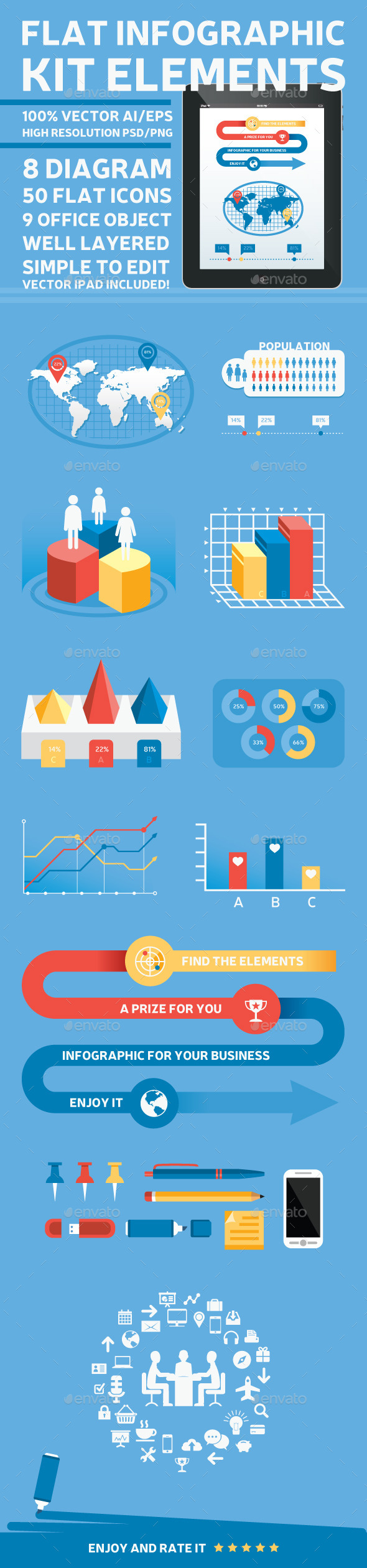 GraphicRiver Flat Infographic Kit Elements 9378963