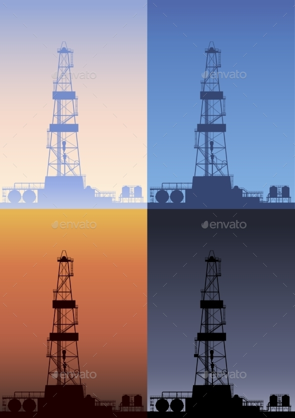 GraphicRiver Oil Rig at Different Times of the Day 9379447