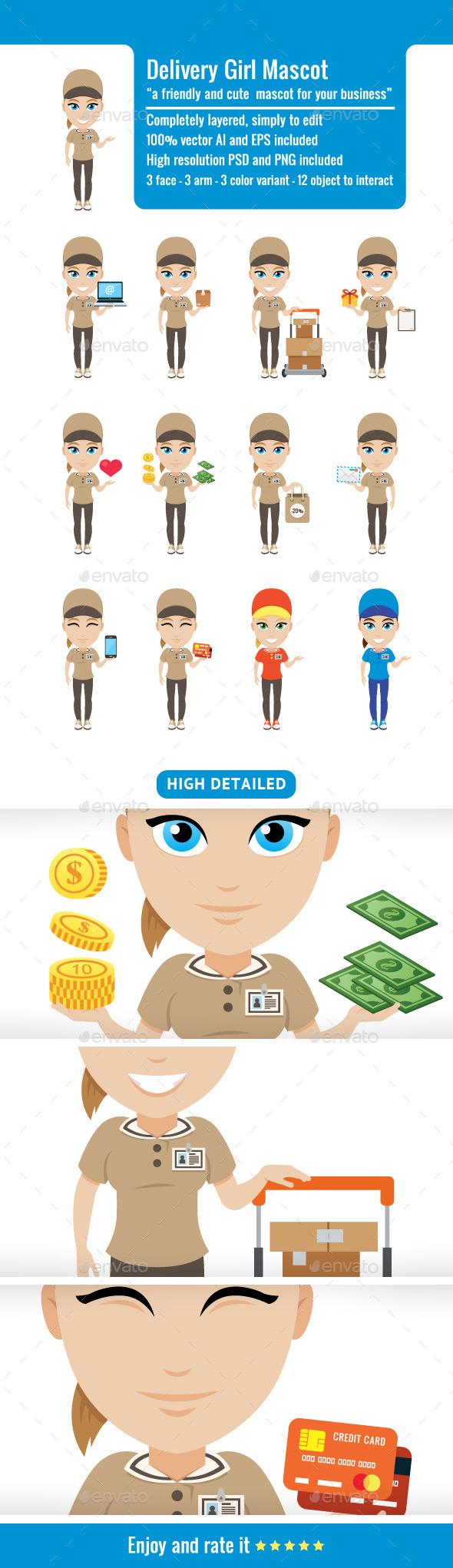 GraphicRiver Delivery Girl Mascot 9379791