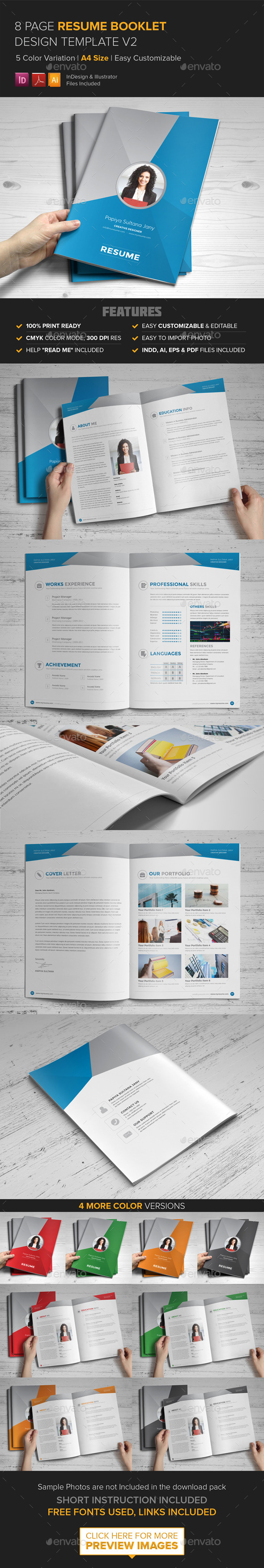 Resume Booklet Design InDesign v2
