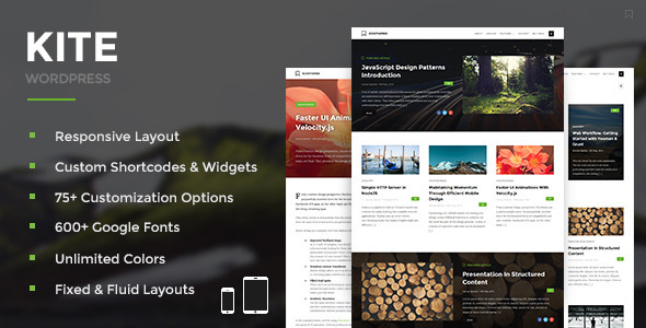 Kite - Responsive WordPress Theme - Personal Blog / Magazine