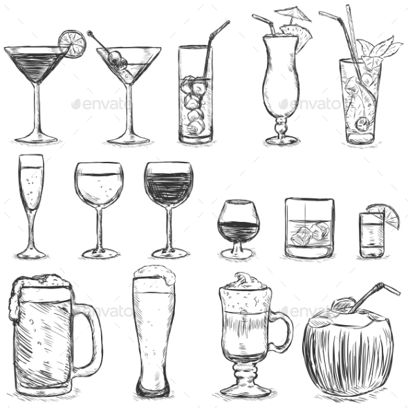 GraphicRiver Vector Set of Sketch Cocktails and Alcohol Drinks 9380228