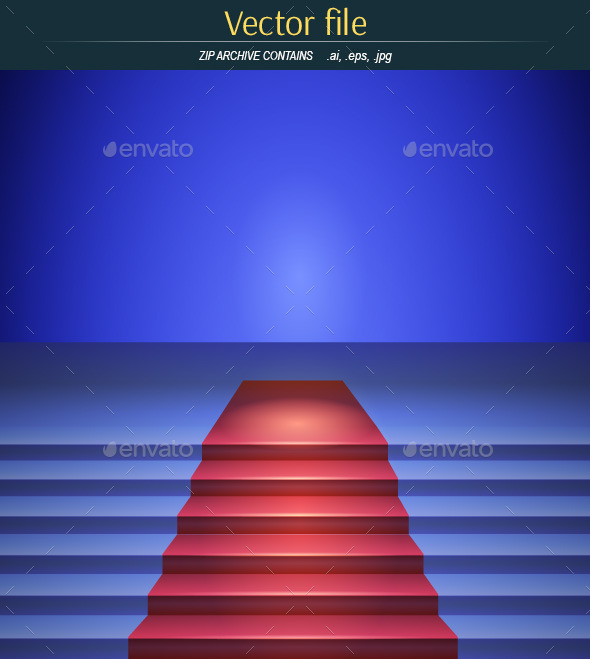 GraphicRiver The Scene with Red Carpet in a Blue Tone 9381050