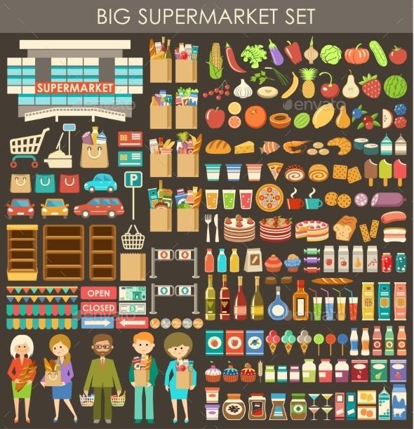 GraphicRiver Big Supermarket Set 9381109