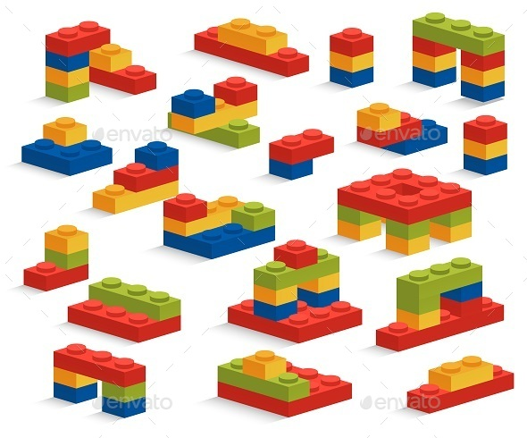 GraphicRiver Set of Plastic Pieces or Constructor 9382234