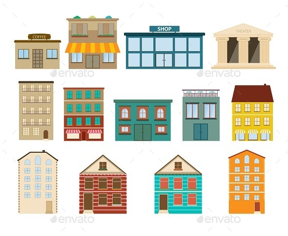 GraphicRiver Town and Suburban Buildings Icons 9382252