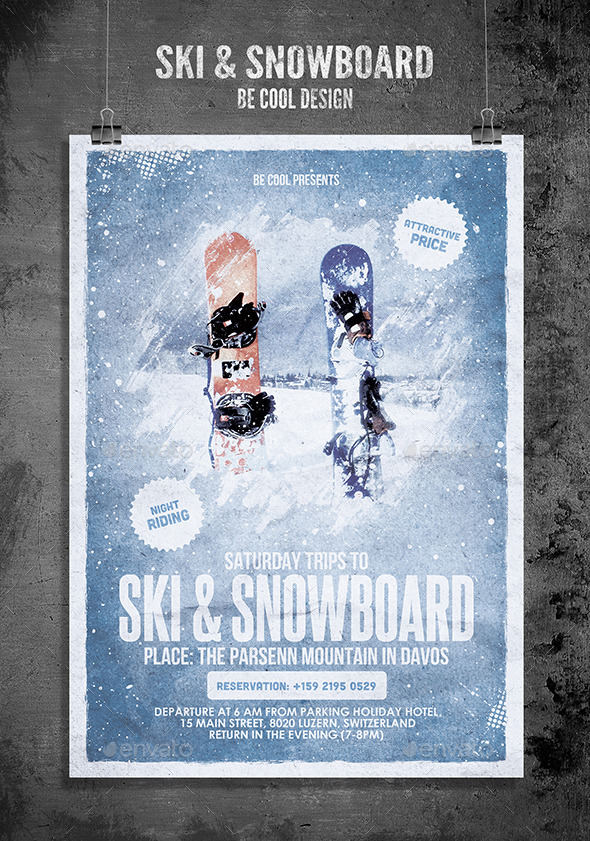 GraphicRiver Ski & Snowboard Flyer Poster 9383162