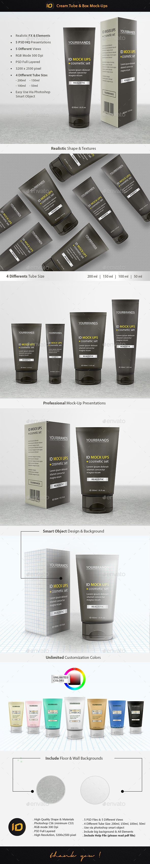 GraphicRiver Cream Tube & Box Mock-Up 9383398