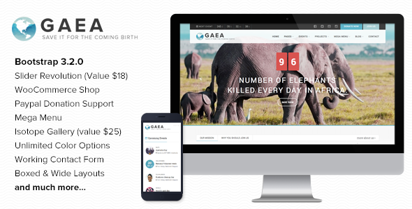 ThemeForest Gaea Environmental Wordpress Theme 9383580