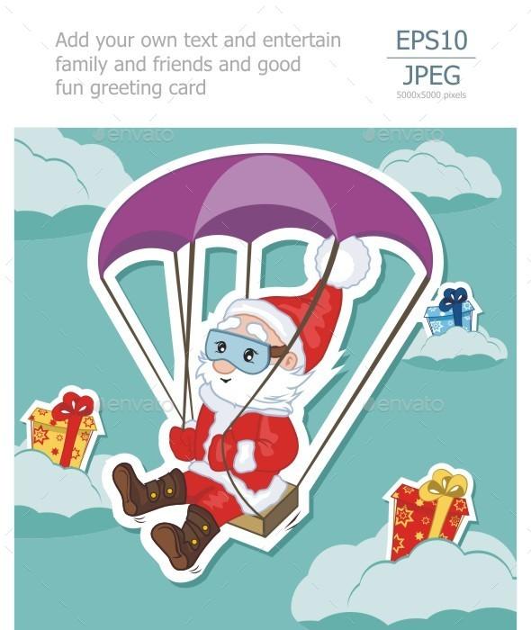 GraphicRiver Santa Claus Flies on Parachute 9384238