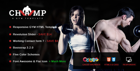 ThemeForest Champ Gym Fitness & Yoga HTML Template 9288057