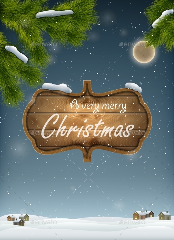 GraphicRiver Christmas Landscape With Wooden Board 9384820
