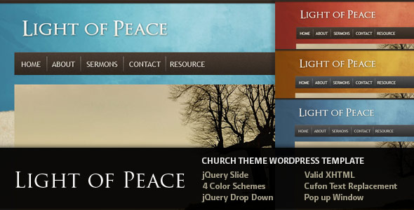 Light of Peace - Wordpress Template - This is the overview of the template.