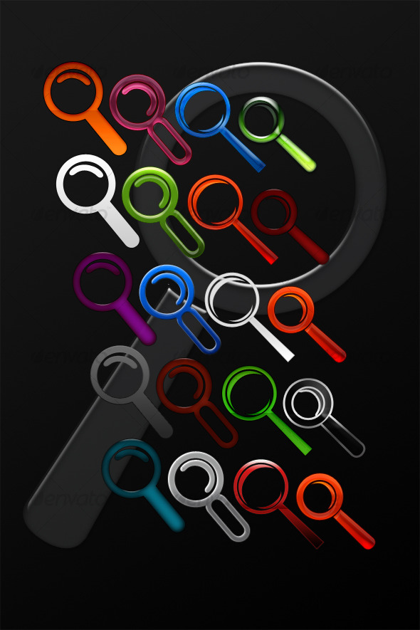 25 Colorful Search Icons - Scalable - Web Icons