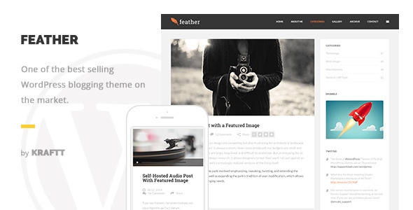 Feather - Clean Flat Responsive WordPress Blog Theme - Personal Blog / Magazine