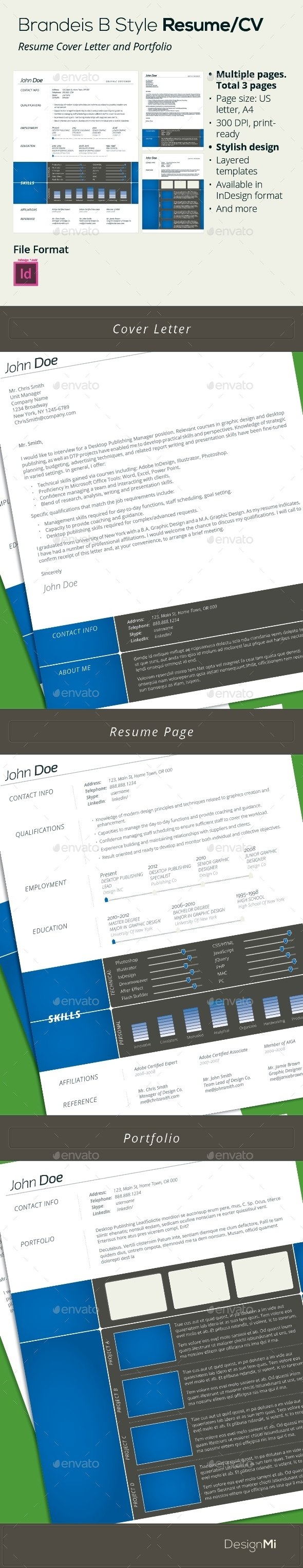 GraphicRiver Brandeis B Style Resume CV 3 pages 9385356