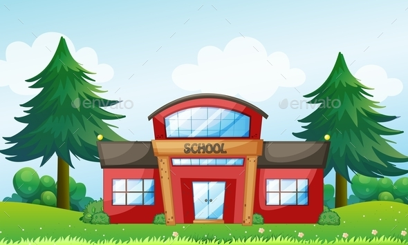GraphicRiver Red School Building 9385580