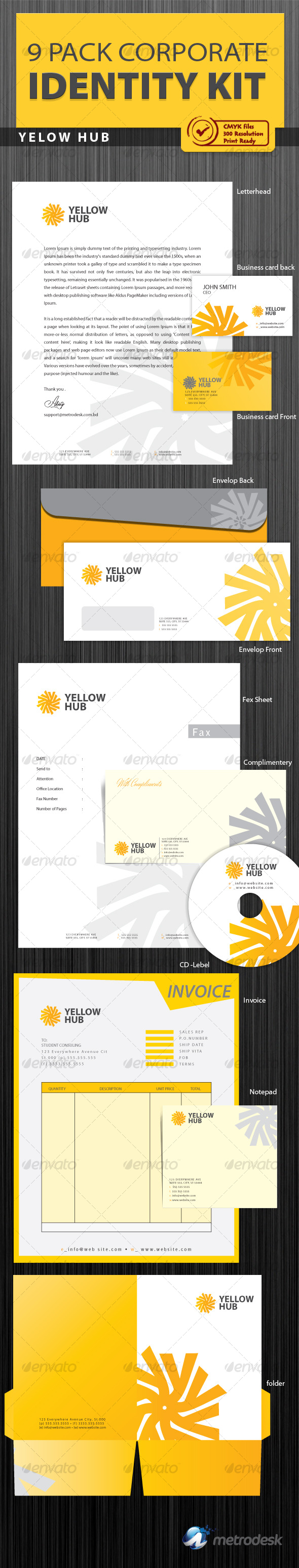 Yellow Hub Corporate Identity [ 9 Pack ] - Stationery Print Templates