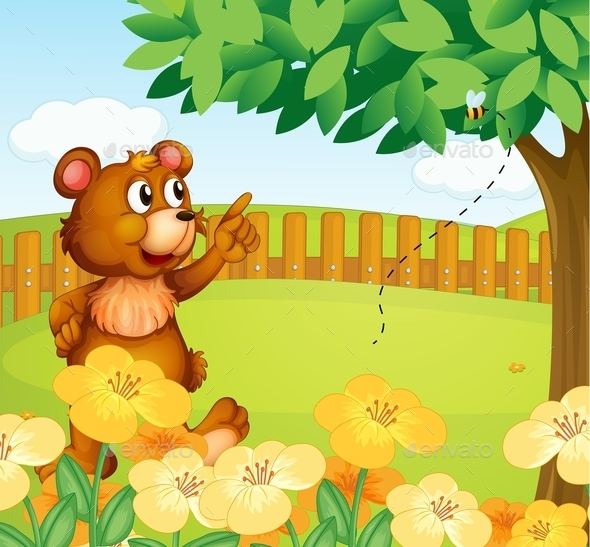 GraphicRiver Bear Inside a Fence Pointing at a Bee 9385811