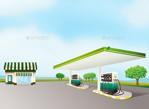 GraphicRiver House and a Gas Station 9385928