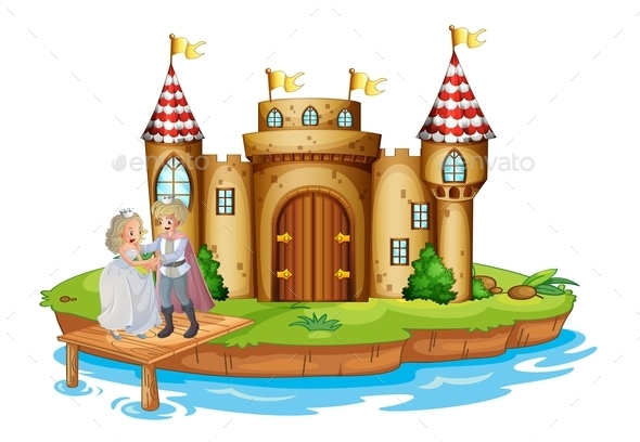 Prince and a Princess on Castle Wooden Bridge