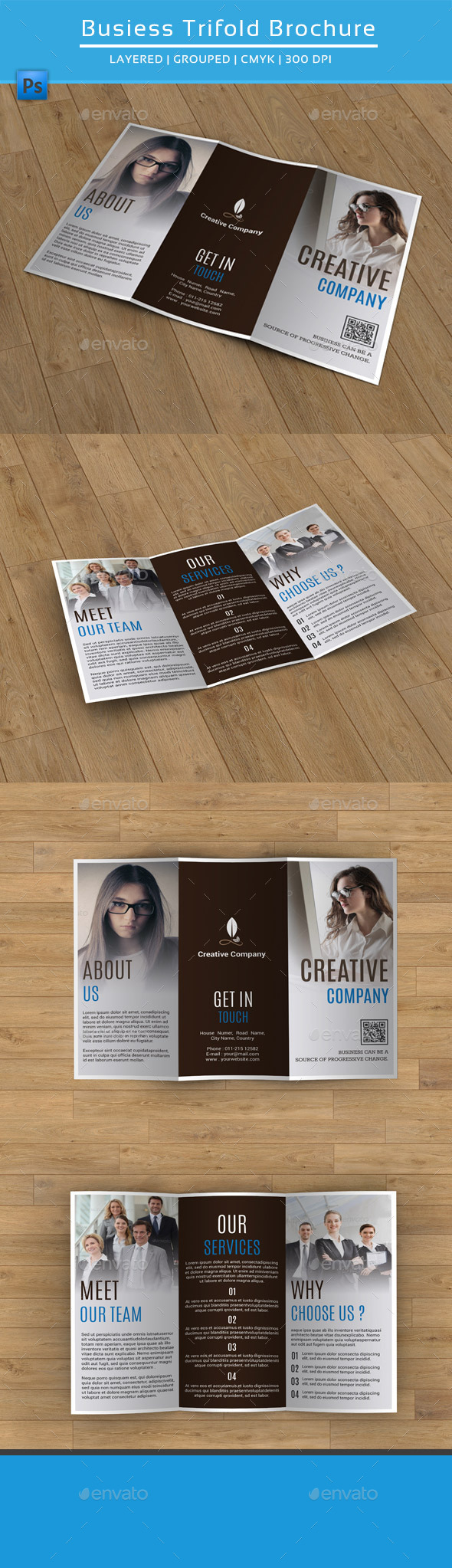GraphicRiver Clean Business Trifold Brochure-V181 9386306