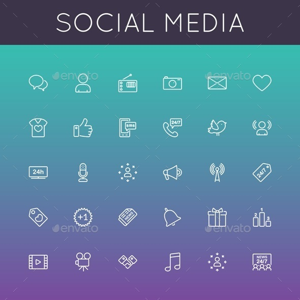 GraphicRiver Vector Social Media Line Icons 9386323