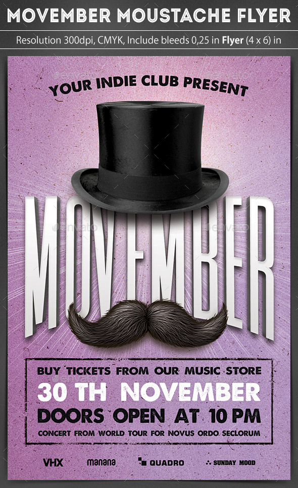 GraphicRiver Movember Moustache Flyer 9386338