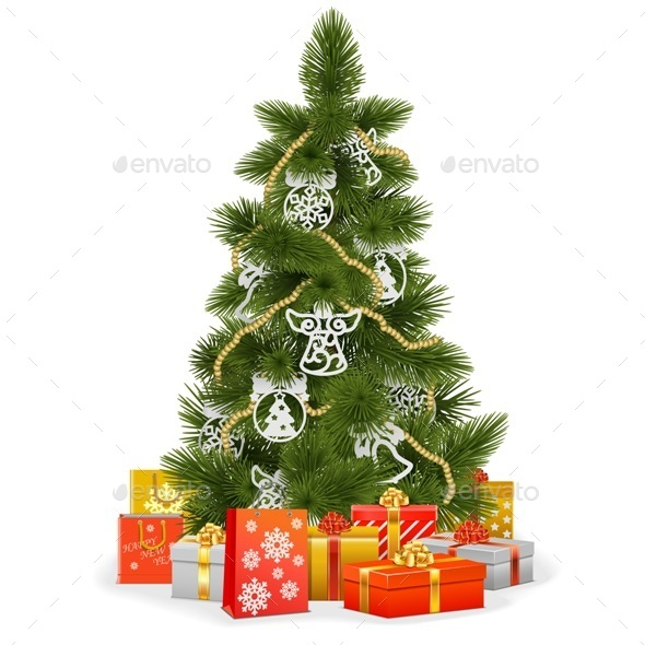 GraphicRiver Christmas Tree with Paper Decorations 9386342