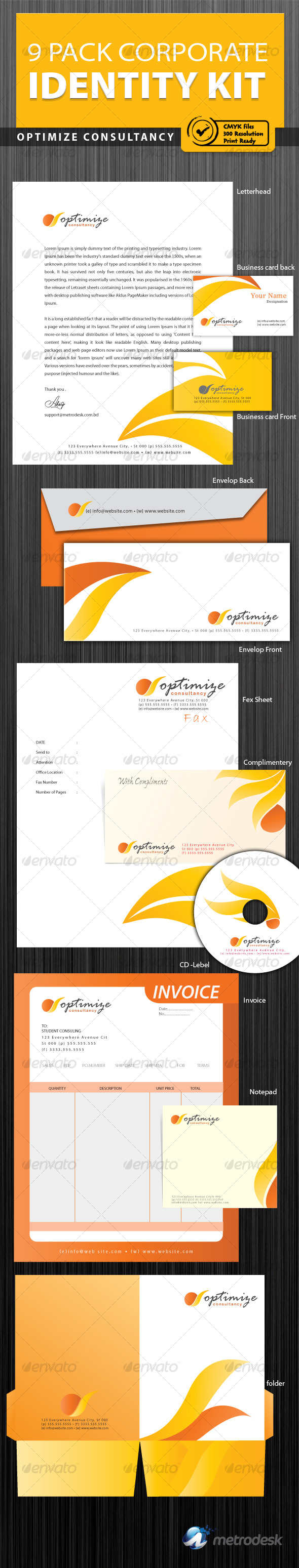 Optimize Consultancy corporate identity [9pack] - Stationery Print Templates