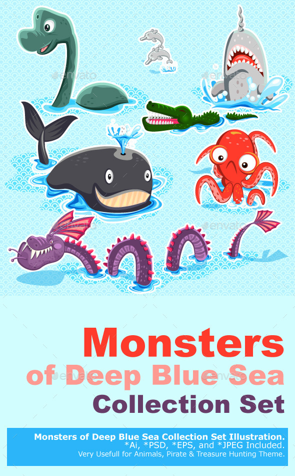 GraphicRiver Monsters of the Deep Blue Sea Collection Set 9387543