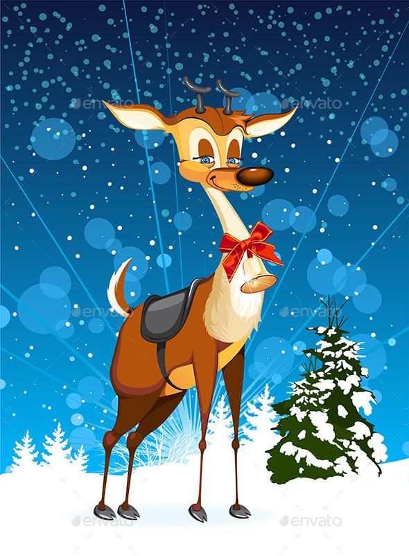 GraphicRiver Christmas Reindeer and Tree 9390396