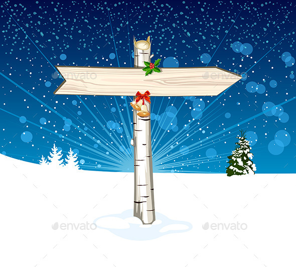GraphicRiver Christmas Wooden Arrow Sign 9392676